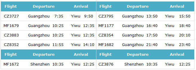 Air flight from Guangzhou/Shenzhen to Yiwu