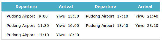 Buses from Pudong airport to Yiwu